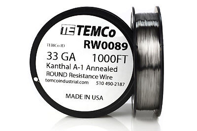 TEMCo Kanthal A1 wire 33 Gauge 1000 Ft Resistance AWG A-1 ga