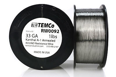 TEMCo Kanthal A1 wire 33 Gauge 1 lb (8217 ft) Resistance AWG A-1 ga