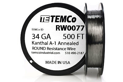 TEMCo Kanthal A1 wire 34 Gauge 500 Ft Resistance AWG A-1 ga