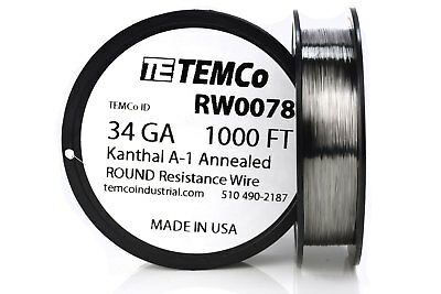 TEMCo Kanthal A1 wire 34 Gauge 1000 Ft Resistance AWG A-1 ga