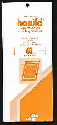Hawid Stamp Mounts Size 63/210 CLEAR Background Pack of 25
