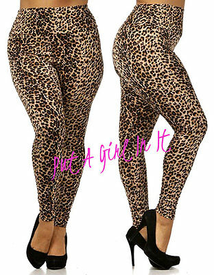 Sexy Plus Size Slimming High Waist Leopard Animal Print Pants Leggings 1X 2X 3X