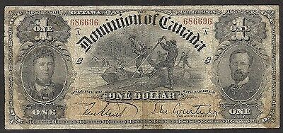 Dominion of CANADA - Old 1 Dollar Note - 1898 - P24 - VG/FINE