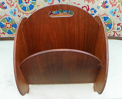 Mid Century Walnut and Birdseye Maple Magazine Rack / Magazine Stand  (HD1)