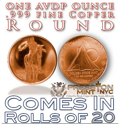 20-1oz COPPER COINS 2012  INDIAN COLLECTORS SERIES #3 COIN .999 COPPER ROUNDS
