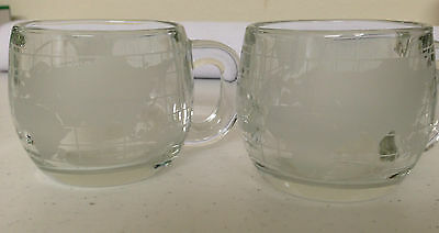 Nescafe Nestle Etched Frosted World Globe Glass Coffee Tea Cups Mugs Earth Cup
