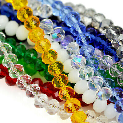 Faceted Rondelle Crystal Glass Beads Loose Spacer 4mm -12mm for Jewellery Making