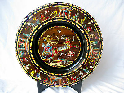 """Egyptian Wooden Inlaid Mother Of Pearl Wall King Ramses Pharaoh Plate Black 16"""""""