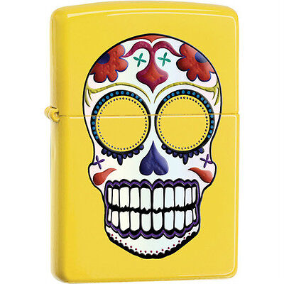 """ZIPPO """"DAY OF THE DEAD"""" YELLOW MATTE FINISH NEW 24894"""