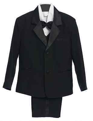 NEW BOY TUXEDO RING BEARER TODDLER BLACK 5 pc FORMAL SUIT WEDDING RECITAL PARTY