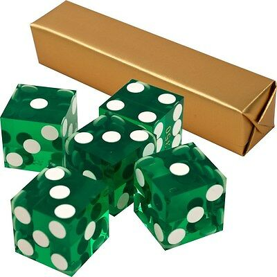 19mm A Grade Serialized Set of Casino Dice-Green