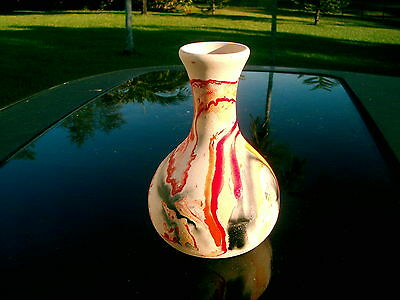 "NEMADJI VASE POTTERY USA  MARK 6.5"" reds, oranges and greys NICE"
