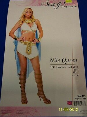 00ab33fe98f 3 PC. NILE Queen Egyptian Cleopatra White Dress Up Halloween Sexy Adult  Costume