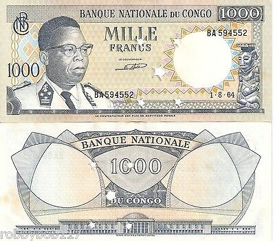 CONGO 1000 Francs Banknote World Money Africa Currency Zaire Bill p8 aUNC Star