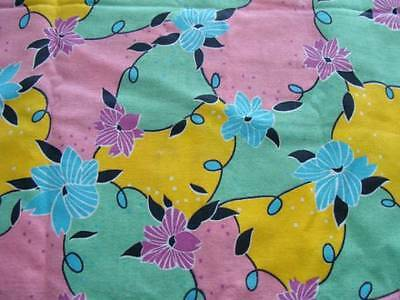 1 yd Vtg Retro Colorful Floral Brushed Cotton Fabric F7328