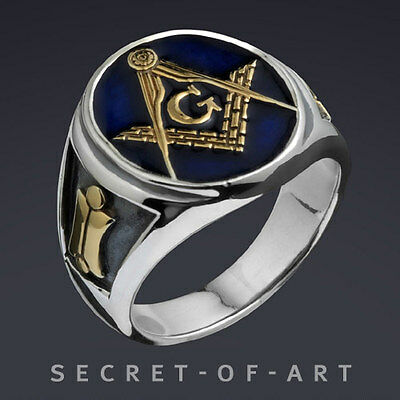 MASONIC BLUE LODGE RING SILVER RING 24K GOLD-PLATED
