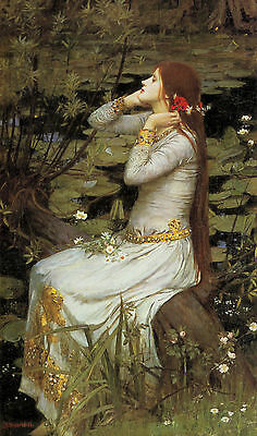 "John William Waterhouse :: Ophelia ( Hamlet ) :: 24"" Pre-Raphaelite Canvas Print"