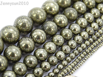 Natural Grey Silver Pyrite Gemstone Round Beads 16'' 2mm 4mm 6mm 8mm 10mm 12mm