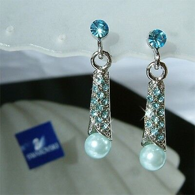 w Swarovski Crystal Aqua Blue Pearl Drop Bridal Wedding Shell Stick Earrings New