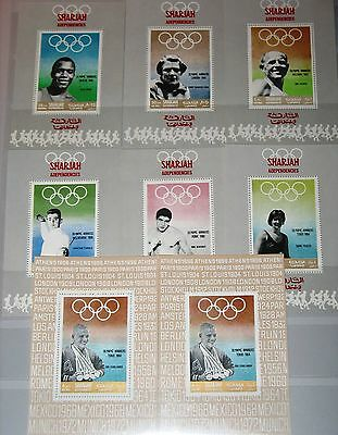 SHARJAH 1968 510-16 Deluxe Sheets Olympics Mexico Sportsmen Medal Winner MNH