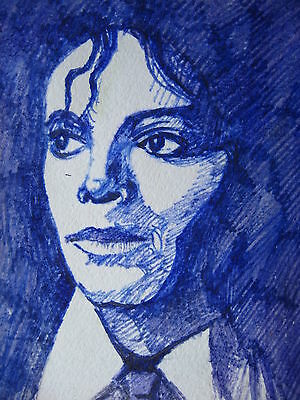 """Blue Colored Pencils Painting Michael Jackson Five King of Pop Song Music 5""""x7"""""""