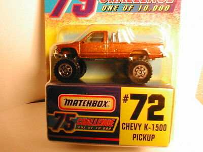 1997 Matchbox 75 Challenge  #72 CHEVY K-1500 PICKUP gold 1 of 10,000 chase truck