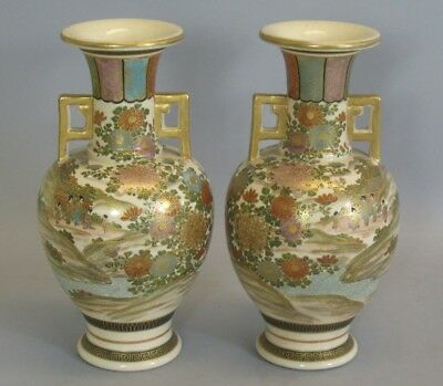 Superb Pair of Artist Signed Antique Satsuma Vases c. 1890  Meiji-Era