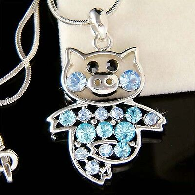 ~Blue PIG~ made with Swarovski crystal Piggy Piglet Charm Necklace Cute Jewelry