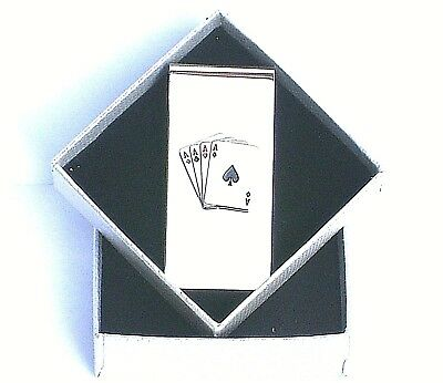"""MONEY CLIP-""""4 ACES"""" 5cms Shiny Silver Style METAL in a SLIM GIFT BOX--BRAND NEW"""