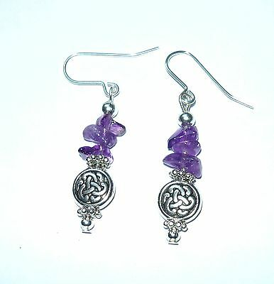 Celtic Bead & Amethyst Chip Drop Earrings
