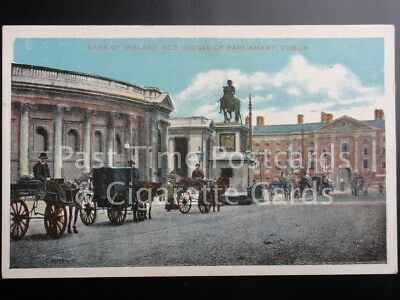 c1908 Dublin: Bank of Ireland, Old Houses of Parliament - showing Jaunting Cars