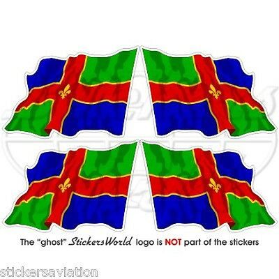 "LINCOLNSHIRE County Flying Flag UK British 50mm (2"") Vinyl Stickers, Decals x4"