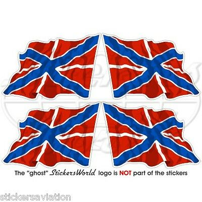"RUSSIA Russian Naval Jack Flying Flag 50mm (2"") Vinyl Stickers, Decals x4"