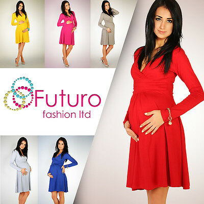 HOT DEAL Women's Maternity Dress Tunic Long Sleeve V-Neck Stretchy FT1101