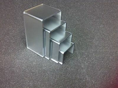 4 Frosted Silver Mirror Acrylic Display Stand Risers Jewellery Display