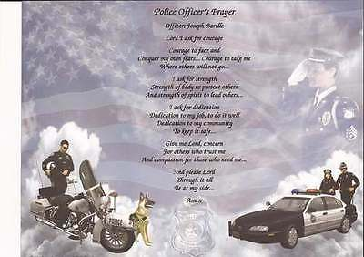 Personalized Police Officer's Prayer for Officer, Department Police Gift
