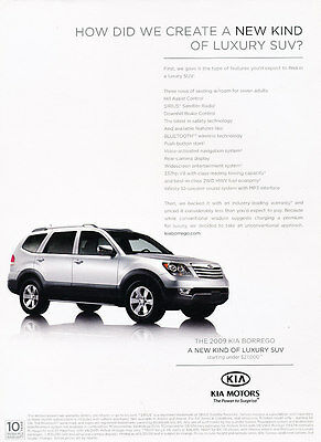2009 Kia Borrego - Create - Classic Vintage Advertisement Ad D202