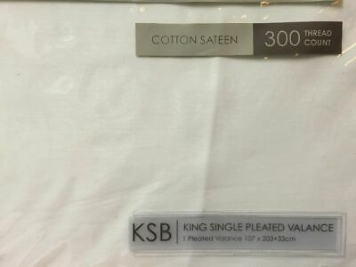 Linen House White King Single Bed Pleated Valance Bnip Cotton Sateen