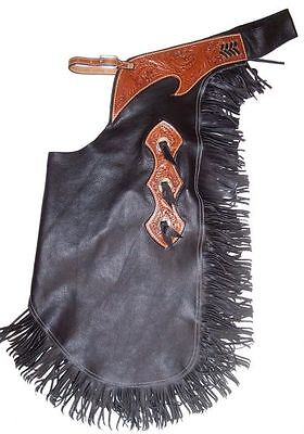 Black Smooth Leather Western Horse Saddle Chinks Chaps For Work Or Rodeo