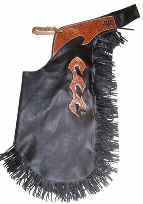 Black Suede Leather Western Horse Saddle Chinks Chaps M L Xl For Work Or Rodeo