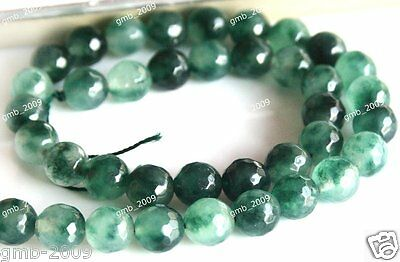 """6mm 8mm 10mm Natural Green Emerald Faceted Round Gemstone Loose Beads 15""""AAA"""