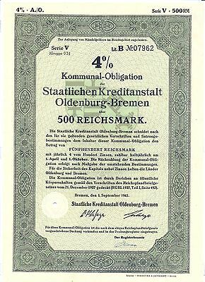 Oldenburg Staatliche Kreditanstalt Oldenburg-Bremen Obligation 500 RM 1941