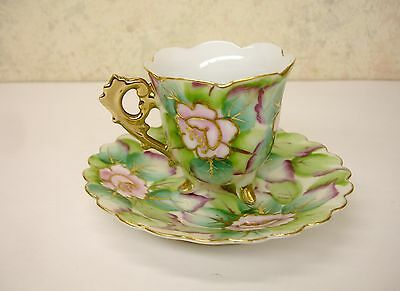 Vintage Shafford Japan Hand Painted Pocelain Footed Demitassi Cup & Saucer Excll