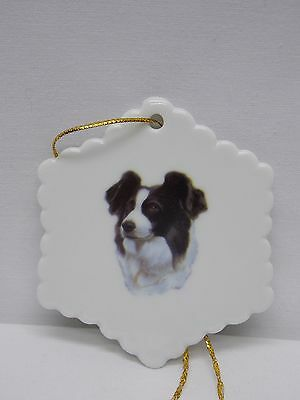 Border Collie Dog Porcelain Snowflake Christmas Tree Ornament Fired Head Decal-H