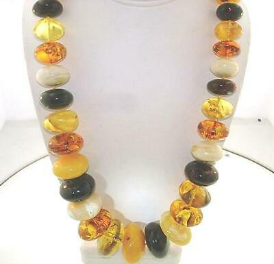 """Graduated Calibrated Genuine Baltic Sea Mixed Round Disc Amber Necklace 24"""" #2"""