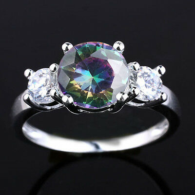 Lady Sterling Silver Ring Size 6 7 8 9 Round Cut 3-stone Simulated Gem