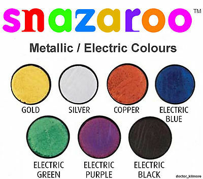 Snazaroo Metallic Electric Face Body Paint Fancy Dress 18ml Make-Up 7 Colours