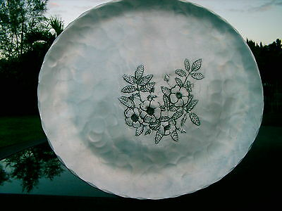 """Hand Made By Natale  Hammered Aluminum 14 """" Oval Tray Classic Design Beautiful"""