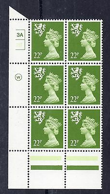Scotland. S48. 22p yellow-green Type II Cylinder block x 6. MNH. Cat £300+