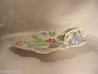 Tray Blue Ridge Southern Potteries China Pottery Leaf Flowers Handle Tray USA